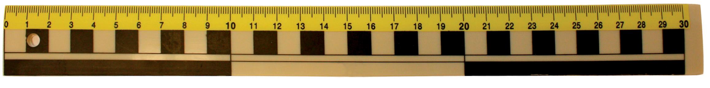 Linjal plast 30cm mm/cm/dm gul